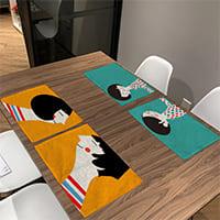 Холщовые салфетки для стола с милым рисунком