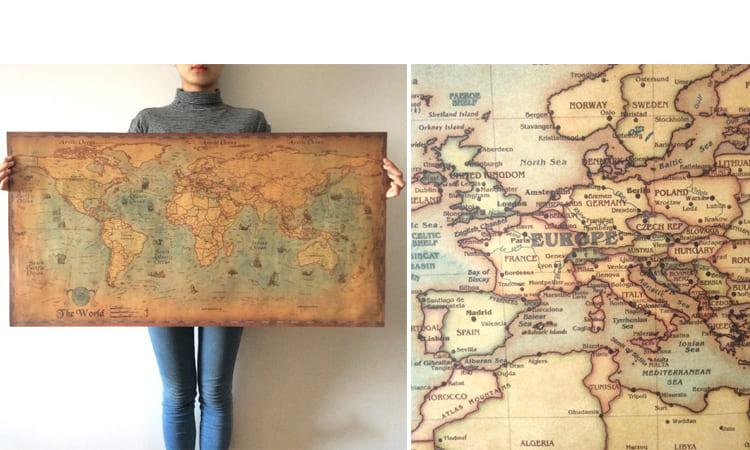 Карта мира в ретростиле