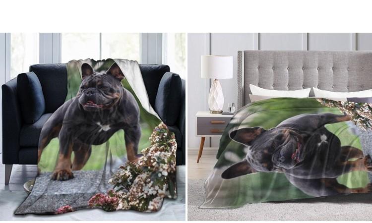 Теплое одеяло с фотографией французского бульдога